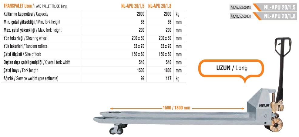 nlapu20uzuncataltranspalet.jpg NL APU 20 transpalet , uzun çatal transpalet , 2 mt transpalet , 180 cm çatal transpalet , netlift transpalet fiyatları